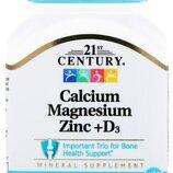 21st Century, Кальций, магний, цинк D3, 90 таблеток