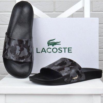 Шлепанцы мужские кожаные Lacoste Military серый камуфляж