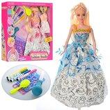 Кукла с набором платья-раскраска 904