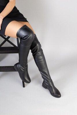 Стильные сапоги чулки ботфорты черные без каблука