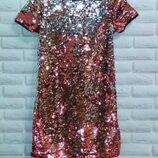 Шикарное нарядное платье в пайетках