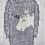 Свитер - туника джемпер травка единорог пони одежда девочка