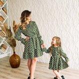 Платье в горох Family Look. Все размеры