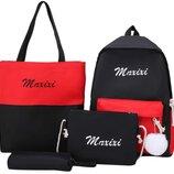 Рюкзак черно-красный в наборе сумка-шопер пенал кошелек комплект mrxixi унисекс