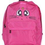 Рюкзак малиновый однотонный принт мордочка кота котик сейлор мун луна sailor moon рисунок