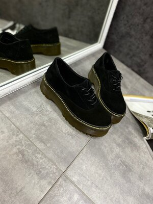 Женские чёрные натуральные кожаные замшевые туфли броги на утолщенной подошве на шнурках Кожа Замша