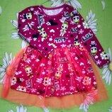 Стильное,новое платье с lol для девочки 3-4 года