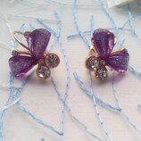 Сережки жіночі Crystal Butterfly серьги женские