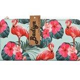новый бомбезный большой длинный кошелек с розовым фламинго, бумажник на молнии