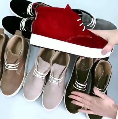 Универсальные натуральные кожаные женские ботинки слипоны на шнуровке