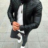Мужская куртка экокожа черная