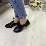 Женские кожаные туфли полуботинки на низком каблуке