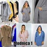 Женское теплое пальто -кардиган с капюшоном ангора альпака