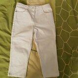 Бриджы капри белые джинс 10-11 лет, рост 140-146 см