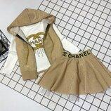 Модный костюм 3ка жилетка реглан юбка Турция