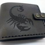Шкіряний гаманець з гравіюванням, кошелек с гравировкой