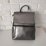 Шикарный кожаный рюкзак, сумка трансформер -цвет серебро