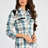 Женская рубашка в клетку с вставками из экокожи. Разные цвета и размеры
