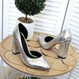 Кс225227 Женские туфли кожа серебро на высоком каблуке