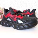 кроссовки на мальчика черные с красным 26-31 р-р
