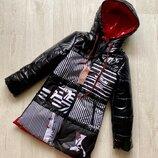 Яркая удлиненная модная куртка для девочки