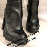 Женские кожаные ботинки ботильоны на высоком устойчивом каблуке
