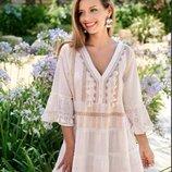 Стиль бохо роскошная платье-туника, цвета шампань с кисточкам и золотом 2306