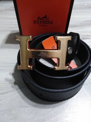 Кожаный чорный ремень Hermes, Хермес, Гермес с золотой бляхой, унисекс