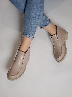 Женские бежевые натуральные кожаные туфли лоферы LUXE качество Натуральная кожа