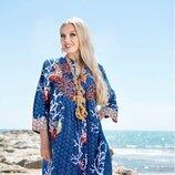 Самобытная синяя летняя платье-рубашка с кораллами код 2172