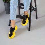 Код 6625 Женские кроссовки Размеры 36-40 Материал натуральная кожа замша Цвет желтый черный