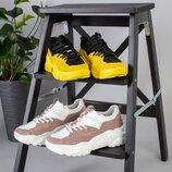 Код 6625/6626 Женские кроссовки Размеры 36-40 Материал натуральная кожа замша Цвет желтый че