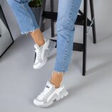 код 5219 Женские кроссовки размеры 36-40 материал натуральная кожа замша цвет серый белый внут