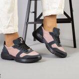 Код 7307-2 Женские кроссовки Сезон деми Цвет пудра черный серый Материал натуральная замша к