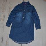 Стильное джинсовое платье рубашка Y.D на 5-6 лет