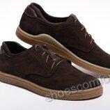 Мужские кожаные туфли в стиле Tommy Hilfiger темно-коричневые