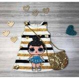 Нарядное платье LOL и сумочка для девочки р.90-100