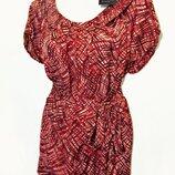 Авторская яркая атласная блуза с поясом р.18