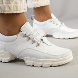 Кроссовки, натуральная кожа, белые, на белой подошве