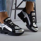 код 5219-1 Женские кроссовки Размеры 36-40 Материал натуральная кожа замша Цвет серебро черный