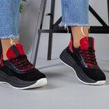 код 5218-2 Женские кроссовки размеры 36-40 материал натуральная замша кожа цвет красный черный
