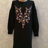 Платье свитшот с вышивкой и пышным рукавом размер 10-12 primark