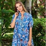 Новинка Летняя ярко-голубая туника-рубашка в морскую ракушку код 2135