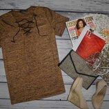 42 - 44 /L фирменная стильная женская футболка с шнуровкой блестит