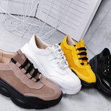 е4342 Стильные кроссовки из натуральной кожи и замша 36-40 р 4 цвета