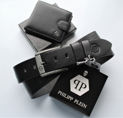 Мужской подарочный набор Philipp Plein - ремень и кошелек Black
