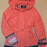 Демисезонная куртка детская, удлиненная куртка для девочек на легком синтепоне, рост 128-152