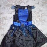 Карнавальное платье ночь волшебницы колдуньи на 5-6лет