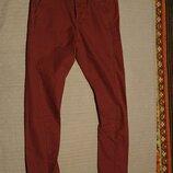 Плотные мягкие х/б бордовые брюки Topman slinny carrot Англия 32 R.