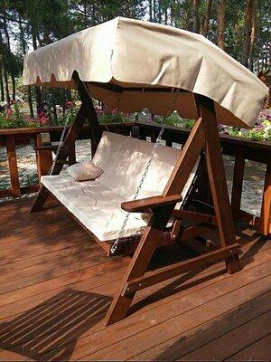 Широкие деревянные качели иассива с Дуба для вашого сада. Каркас качелей Массив Дуба 12х3,5 см Р